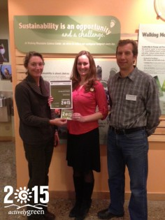 Jessica from Vail Spa & Condos receives their Actively Green 2015 Award.