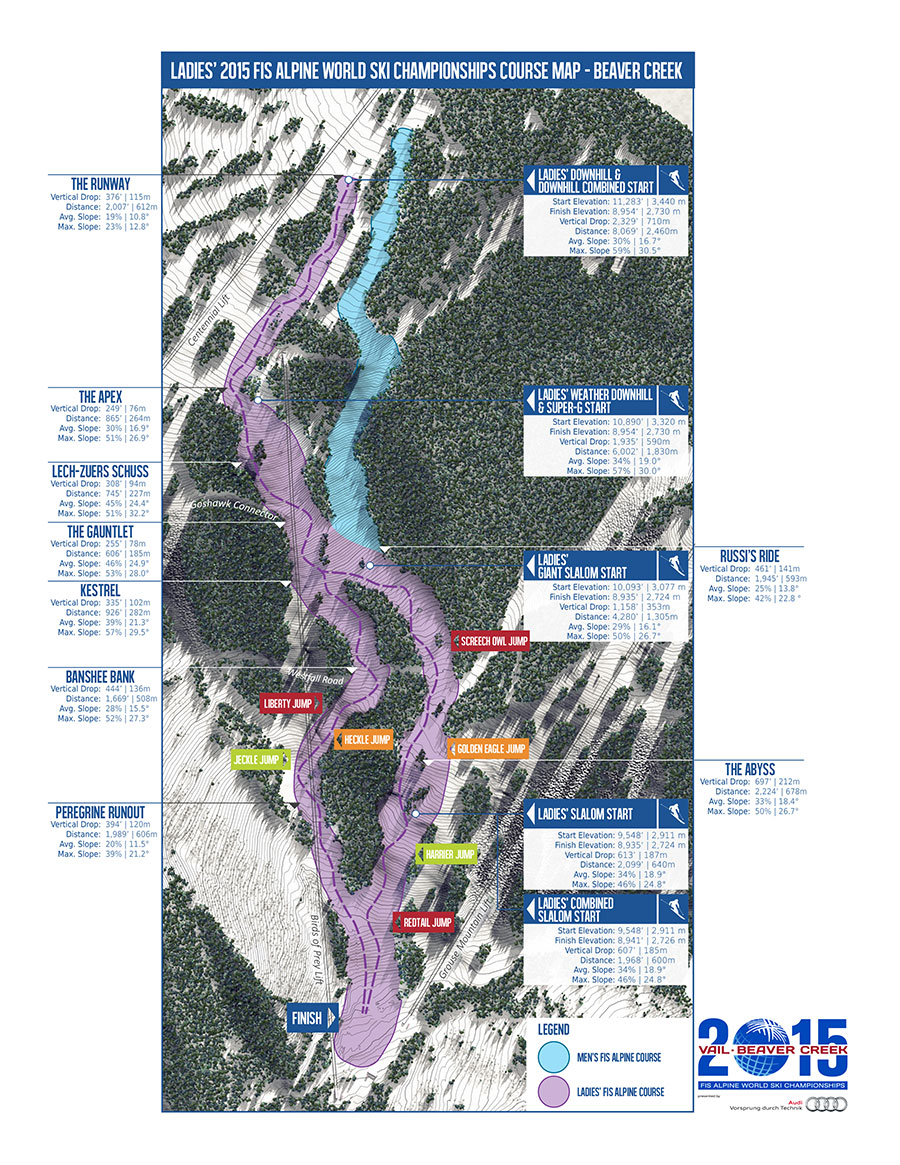Ladies' course maps for 2015 Alpine World Ski Championships in Beaver Creek